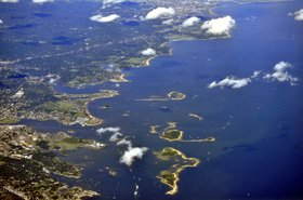 Aerial view of Norwalk Harbor and vicinity