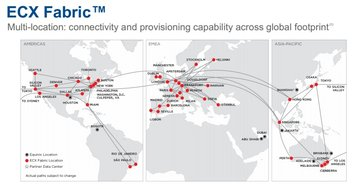 A map illustrating Equinix's Cloud Exchange Fabric service, which will operate on a global scale from December 2018