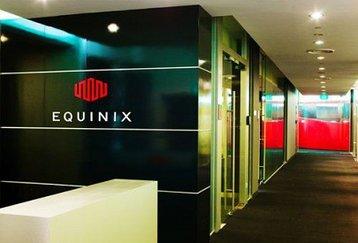 The interior of an Equinix data center
