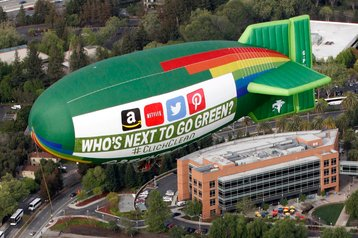 Greenpeace blimp flying over Silicon Valley