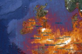 Satellite view of NO2 pollution in N Europe
