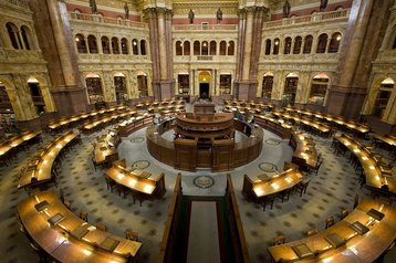 The US Library of Congress' main reading room, Thomas Jefferson Building