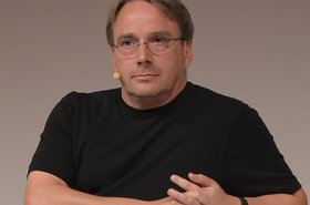 Linus Torvalds speaking at the LinuxCon Europe 2014 in Düsseldorf