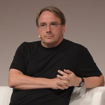Linus Torvalds speaking at the LinuxCon Europe 2014 in Düsseldorf