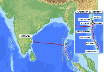 The cable system route between Chennai and Andaman and Nicobar Islands