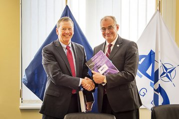 Dan Johnson, president of General Dynamics IT, and Koen Gijsbers, General Manager of the NATO Communications & Information Agency