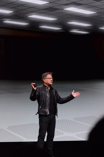 Nvidia CEO Jensen Huang in an empty room