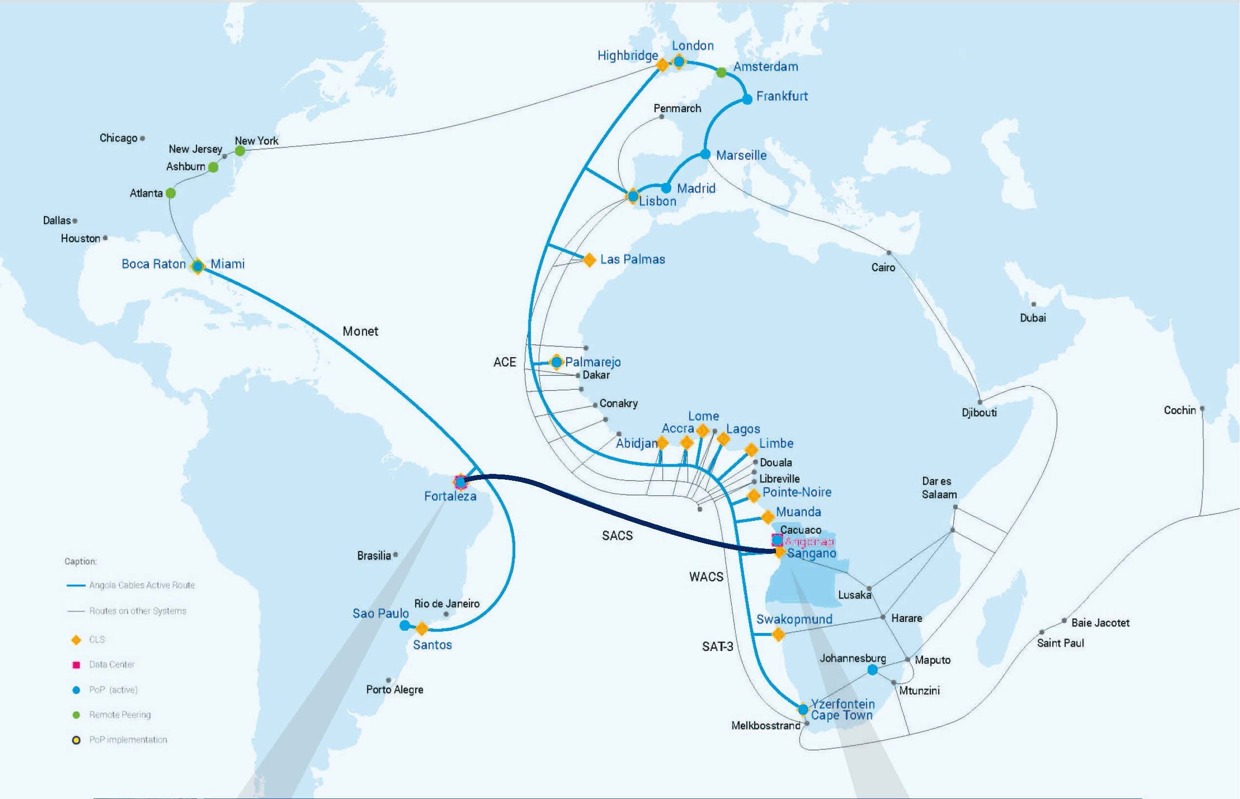 Africa Map Angola.Angola Cables Lights Up World S First Submarine Cable Linking Africa