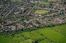 Aerial view of Feltham, UK