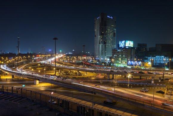 Bridge in Cairo, Egypt by night
