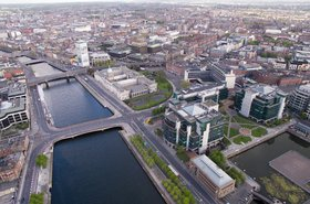 Aerial view of Dublin, Ireland