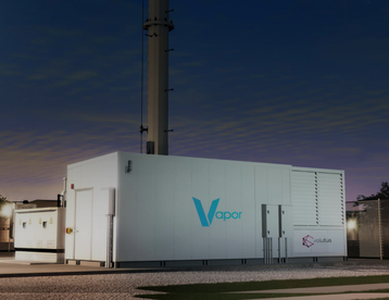 Graphic rendering of a Vapor Edge module at the base of a cell tower