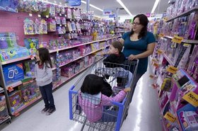 A shopper in a Walmart store