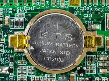 CR2032 battery used as backup battery on a notebook motherboard