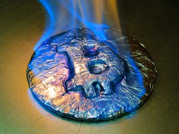 flaming bitcoin