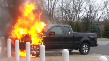 A Ford F-150 FX4 on fire