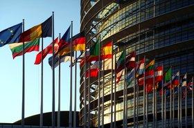 EU member states' flags in Strasbourg