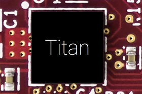 """""""Photograph of Titan up-close on a printed circuit board. Chip markings obscured"""""""